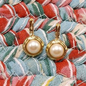 Vintage Napier classic pearl gold stud dainty